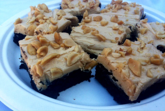 Brownies with Peanut Butter Frosting and Salted Peanuts